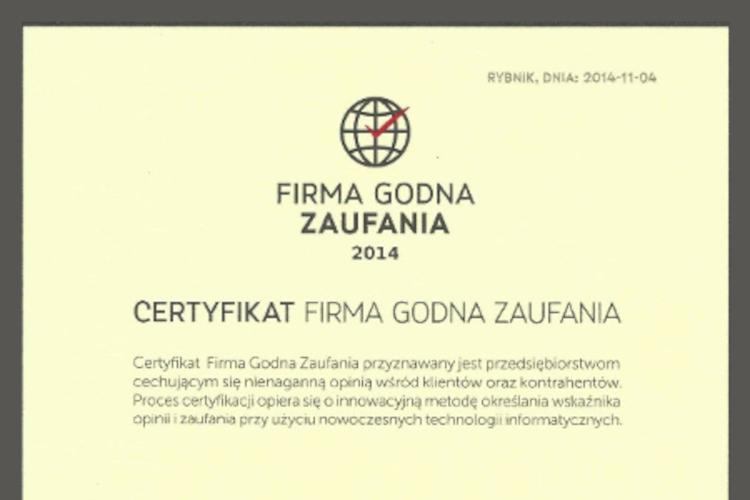 Zielarnia Józefa - Firma Godna Zaufania 2014