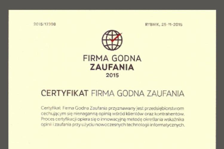 Zielarnia Józefa - Firma Godna Zaufania 2015